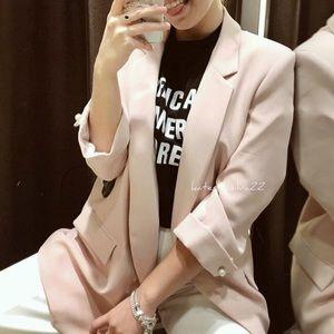 Zara Long Pink Blazer Size Small w pearl